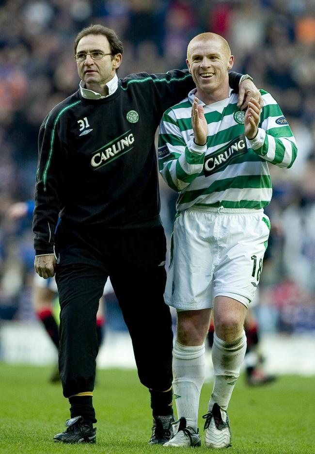 Celtic manager Martin O'Neill (left) with Neil Lennon