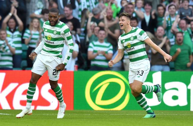 Olivier Ntcham celebrates a goal with Kieran Tierney - both could be on their way from Celtic