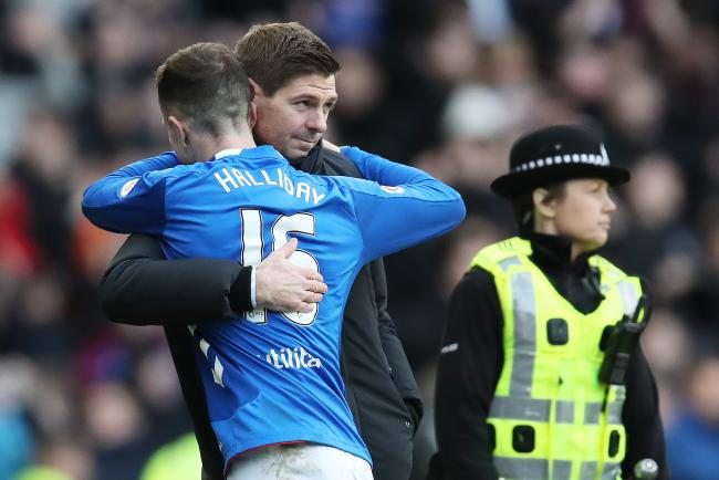 Rangers manager Steven Gerrard and Andy Halliday