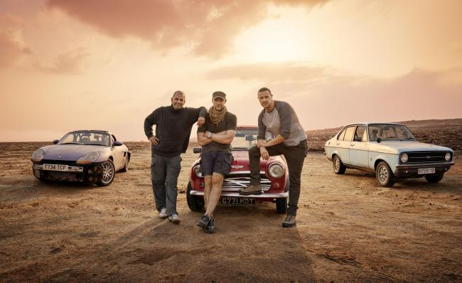 Top Gear presenters Chris Harris, Freddie Flintoff and Paddy McGuinness in the cradle of cizilization. That's Ethiopia, not the Mini