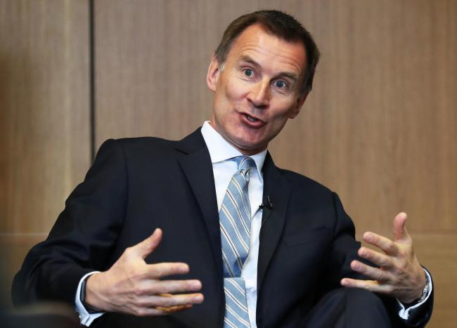 Tory leadership hopeful Jeremy Hunt