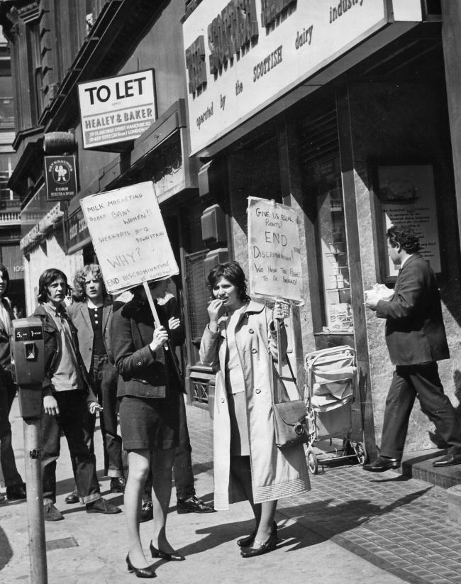 protest oputside the milk centre, 1971