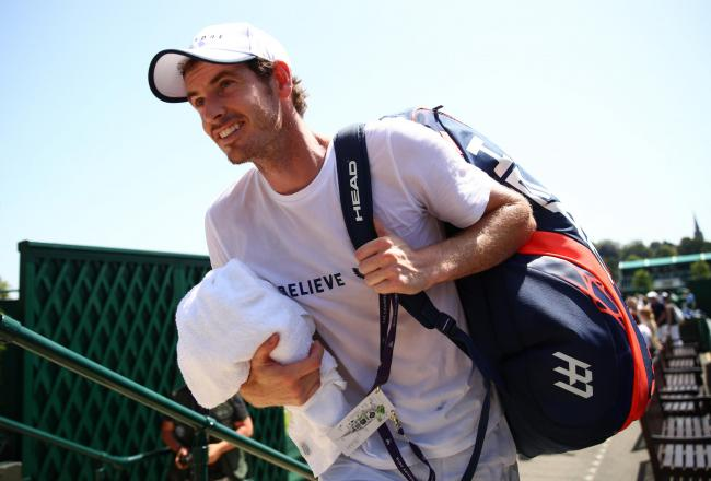 Andy Murray leaves the court after a practice session