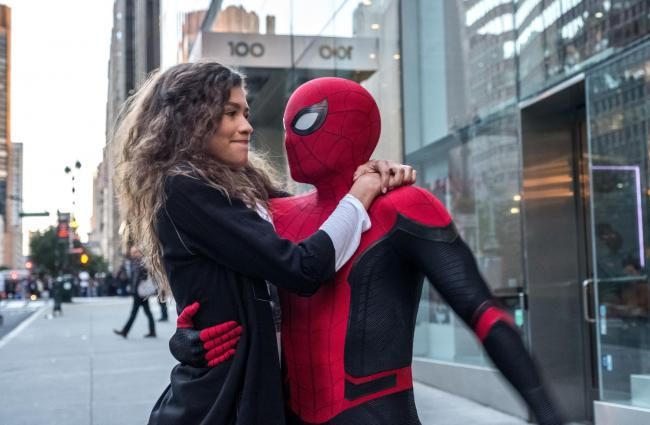 Spider-Man: Far From Home. Pictured: Zendaya as MJ and Tom Holland as Spider-Man.
