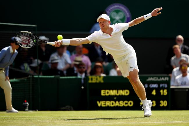 Kyle Edmund stretches for a shot in his defeat to Fernando Verdasco