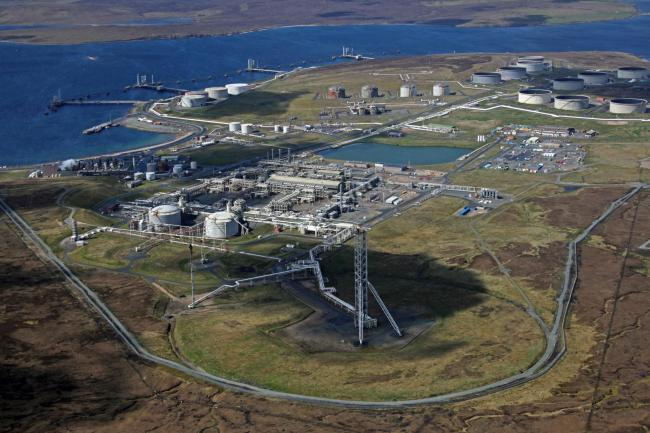 The Sullom Voe oil terminal.