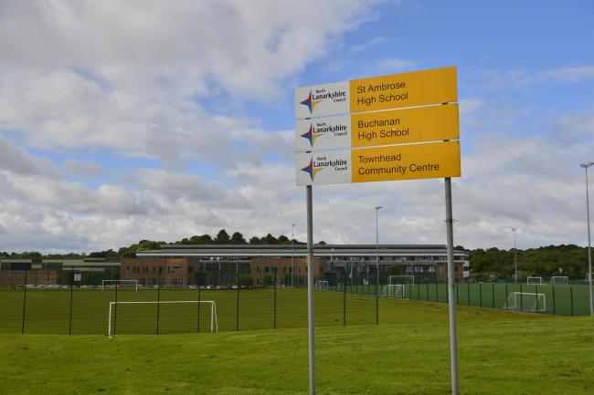 COATBRIDGE, SCOTLAND - JUNE 20: a general view of St Ambrose and Buchanan High shared campus as parents and pupils from Buchanan High school join the picket line as teachers strike over health fears from contaminated water at the site on June 20, 2019 in