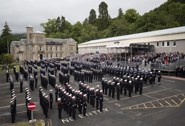 The parade with serving Royal Navy submariners, veterans, families and support workers at HM Naval Base Clyde, the home of the UK Submarine Service at Faslane in Argyll and Bute, to mark 50 years of the Continuous At Sea Deterrent (CASD). PRESS ASSOCIATIO