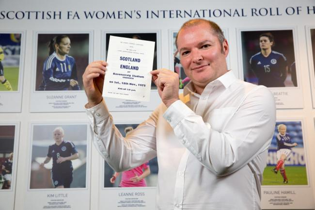 Richard McBrearty holds the programme for Scotland's first official international match. Credit: Robert Perry