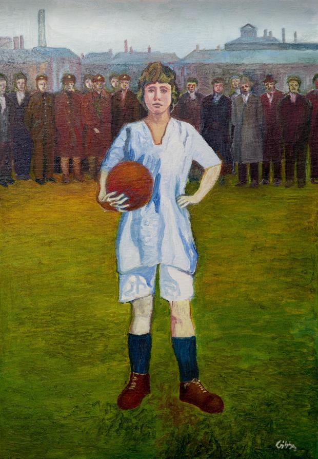 HeraldScotland: A painting at the Scottish Football Museum depicts a munitionette from Beardmore munitions factory