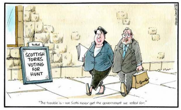 HeraldScotland: Camley's Cartoon: Hunt in the lead in Scotland