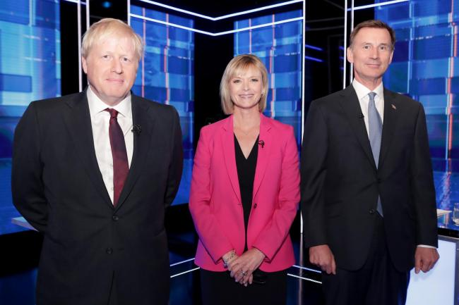 Julie Etchingham moderated the debate between Boris Johnson and Jeremy Hunt