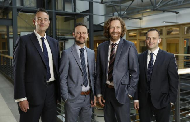 Left to right: Negotiating team including Paul Smith, Stephen Bain, David Smith, Stuart McAleese