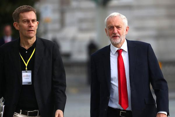 Labour Party leader Jeremy Corbyn and Seumas Milne, the Labour Party's Executive Director of Strategy and Communications