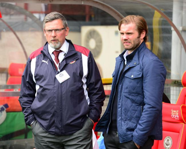 Craig Levein (left) and then Hearts manager Robbie Neilson
