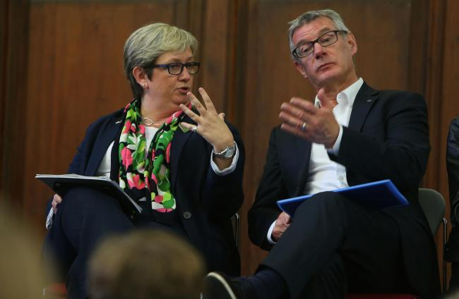 SNP MP Joanna Cherry and former Labour MEP David Martin at a public discussion on Citizens Assemblies at Edinburgh University on Monday. Picture: Gordon Terris.