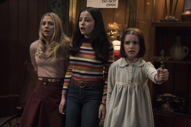 Annabelle Comes Home with Madison Iseman as Mary Ellen, Katie Sarife as Daniela and Mckenna Grace as Judy Warren