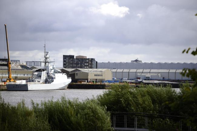 RENFREW, SCOTLAND - SEPTEMEBR 06: a general view of BAE Scotstoun shipyard with OPV HMS Forth docked alongside on September 06, 2017 in Renfrew, Scotland. (Photo by Jamie Simpson/Herald & Times) - JS.