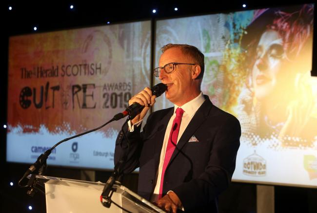 Bryan Burnett hosts at The Herald Scottish Culture Awards.