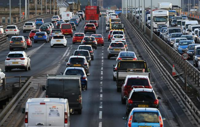 GV of traffic on the M8 Kingston Bridge during rush hour...   Photograph by Colin Mearns..1 March 2017.