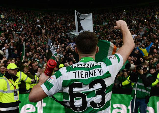 Kieran Tierney hails the Celtic fans at the end of last season