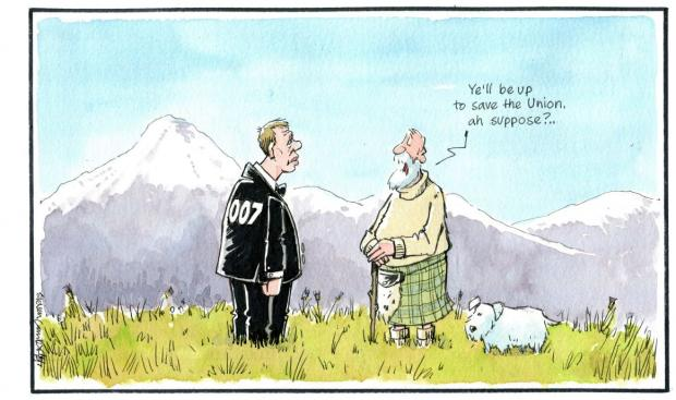 HeraldScotland: Camley's Cartoon: 007 is re-connected with his tartan roots.