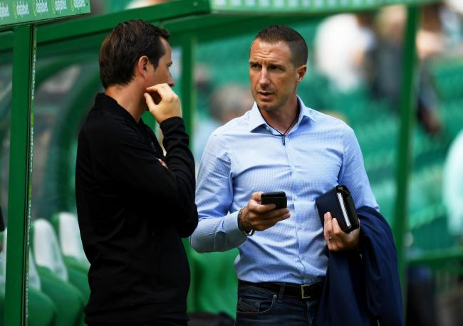 13/07/19 PRE SEASON FRIENDLY.CELTIC v STADE RENNAIS (0-0).CELTIC PARK - GLASGOW.Rangers women head coach and former Stade Rennais player Gregory Vignal speaks with Stade Rennais manager Julien Stephan.