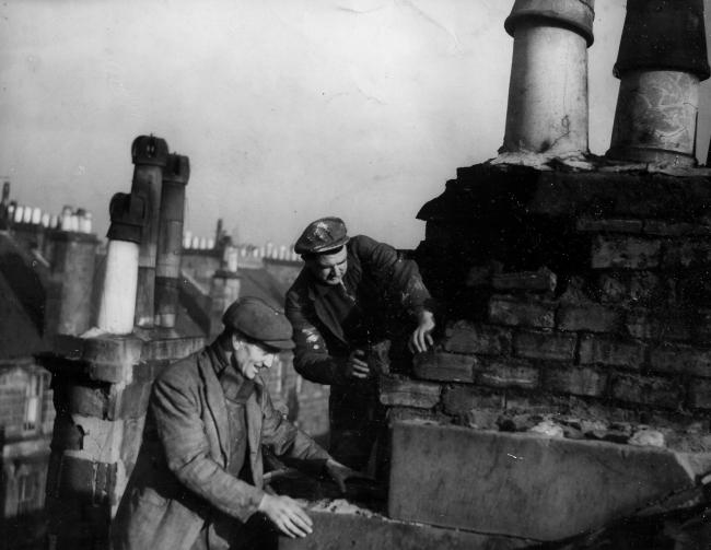 Chimney repaired after gales, 1948