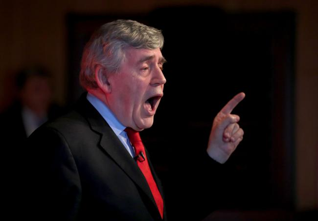 Former Prime Minster Gordon Brown speaking at a Labour campaign event at the Adam Smith Theatre in Kirkcaldy. PRESS ASSOCIATION Photo. Picture date: Saturday May 13, 2017. See PA story ELECTION stories. Photo credit should read: Jane Barlow/PA Wire.