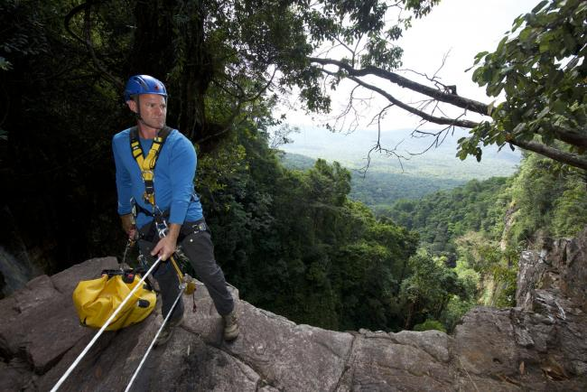 Steve getting ready to abseil in Suriname   Pic: PA