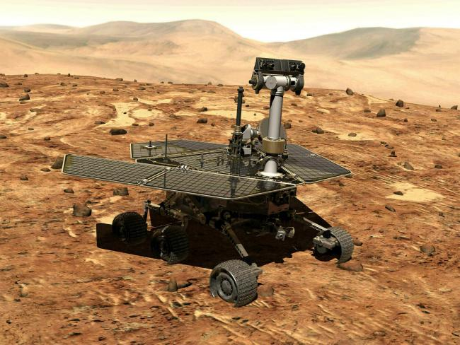 An illustration made available by Nasa showing the rover Opportunity on the surface of Mars in 2004.