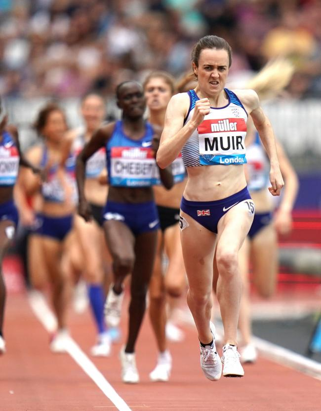 Laura Muir grits her teeth as she heads for the finish line in the 1500m at the Anniversary Games in London