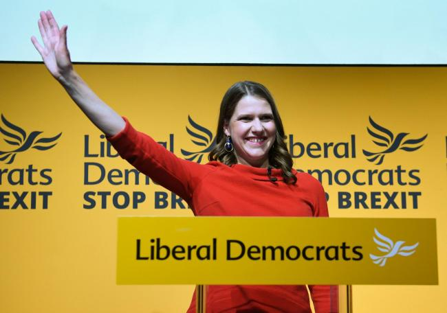 Jo Swinson speaking at Proud Embankment in London after she was elected leader of the Liberal Democrats. PRESS ASSOCIATION Photo. Picture date: Monday July 22, 2019. See PA story POLITICS LibDems. Photo credit should read: Stefan Rousseau/PA Wire.