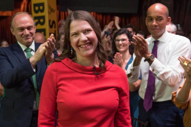 Jo Swinson at Embankment in London after she was elected leader of the Liberal Democrats.