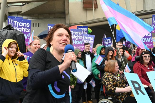 Protesters demonstrating last month outside the Scottish Parliament for reform of the Gender Recognition Act, in an event organised by the Scottish Trans Alliance.