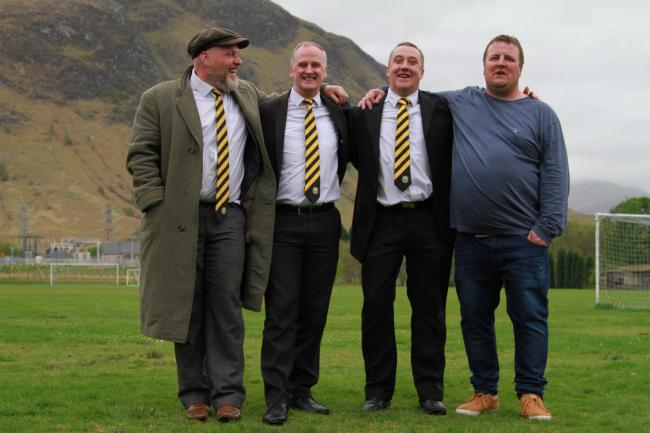 Fort William FC manager Russell MacMorran (second from right) with fellow board members Colin Wood, Peter Murphy, and Willie Edwards