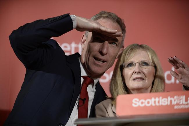 GLASGOW, SCOTLAND - MAY 05: Former Prime Minister Gordon Brown joins Scottish Labour Leader Jim Murphy and Margaret  Curran to deliver a speech at The Lighthouse on May 05, 2015 in Glasgow, Scotland. (Photo by Jamie Simpson/Herald & Times) - JS.