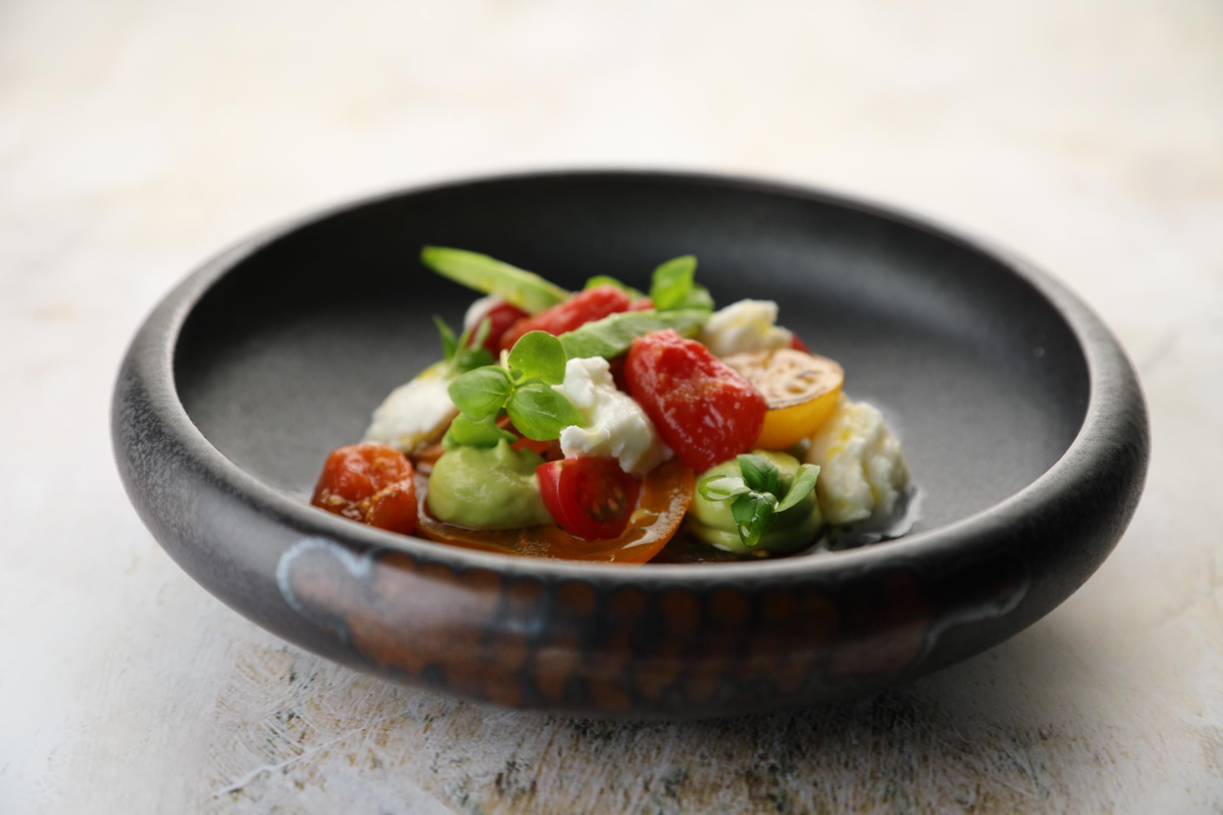 Avocado mousse, tomatoes, basil & mozzarella. Recipe by Gary Townsend
