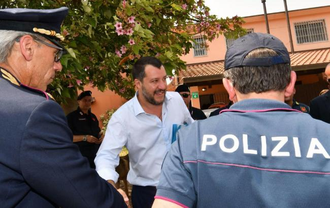 Italian Deputy Premier and Interior Minister, Matteo Salvini, arrives in Mineo, near Catania, southern Italy, Tuesday, July 9, 2019. Italy's hard-line interior minister has closed a migrant center in Sicily that he says was the largest in Europe as he