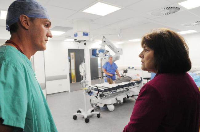 Health Secretary Jeanne Freeman MSP visiting the Queen Margaret Hospital. Pic: Dave Wardle