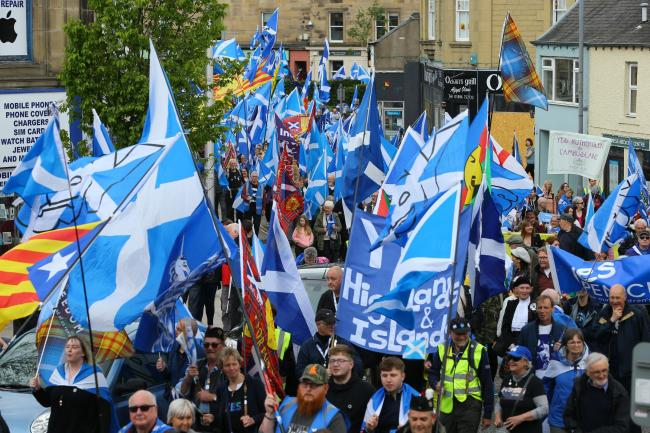 All Under One Banner pro-independence march and rally in Galashiels in the Scottish Borders...  Photograph by Colin Mearns.1st June 2019..