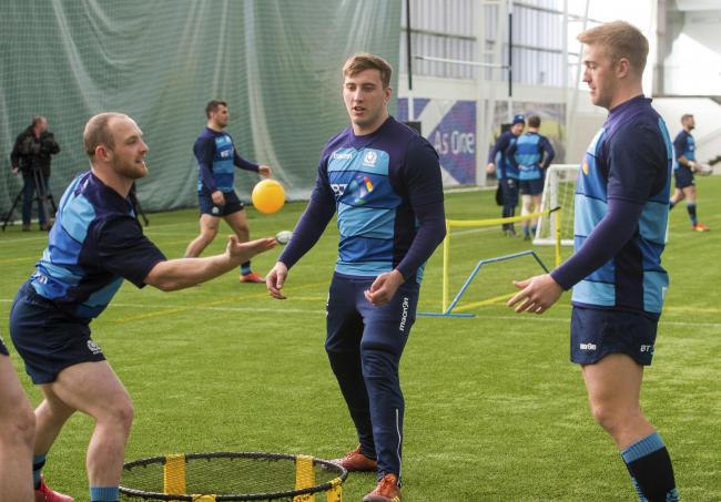 Scotland's Nick Grigg, left and Kyle Steyn, right, training here with Matt Fagerson, have been unlucky to be axed from the squad