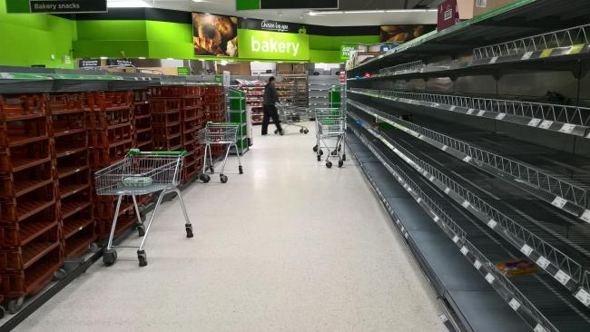 Heavy snow aftermath. Empty bread shelves at Asda Govan supermarket...Photograph by Colin Mearns...2 March 2018..