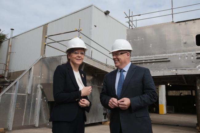 Pictures Mark Gibson Newsquest Media Group.Pictured Nicola Sturgeon and Fergusons Owner Jim McColl.First Minister Nicola Sturgeon made a visit to Ferguson Marine shipbuilders in Port Glasgow this morning to reveal that the firm is the preferred tenderer f