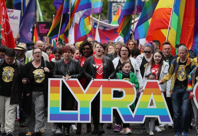 Sara Canning (front centre), partner of murdered journalist Lyra McKee, marches with protesters through Belfast in May demanding same sex marriage in Northern Ireland.  Picture: PA