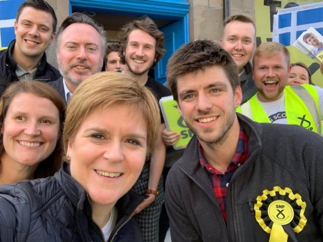 Nicola Sturgeon and SNP Shetland candidate Tom Wills. Source: First Minister's Twitter feed
