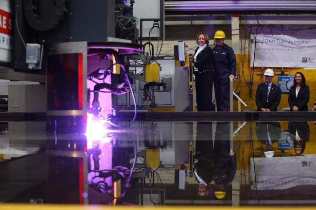 Steel Cut ceremony for the second Type 26 Global Combat Ship, HMS Cardiff at BAE Systems Govan shipyard, Glasgow. Picture: Colin Mearns
