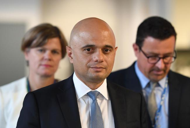 Chancellor Sajid Javid during a visit to the National Grid Training Centre near Newark, as the UK's economy shrank for the first time since 2012 in the second quarter of this year. Picture: Joe Giddens/PA Wire.