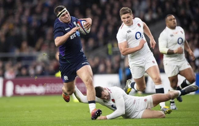 Captain Stuart McInally runs through to score a try to begin Scotland's fightback against England last March