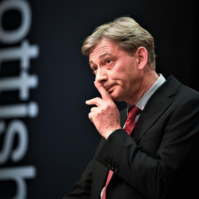 Scottish Labour Party leader Richard Leonard gives his keynote speech to delegates at the spring conference at the Caird Hall on March 10, 2018 in Dundee, Scotland. Richard Leonard proposed a